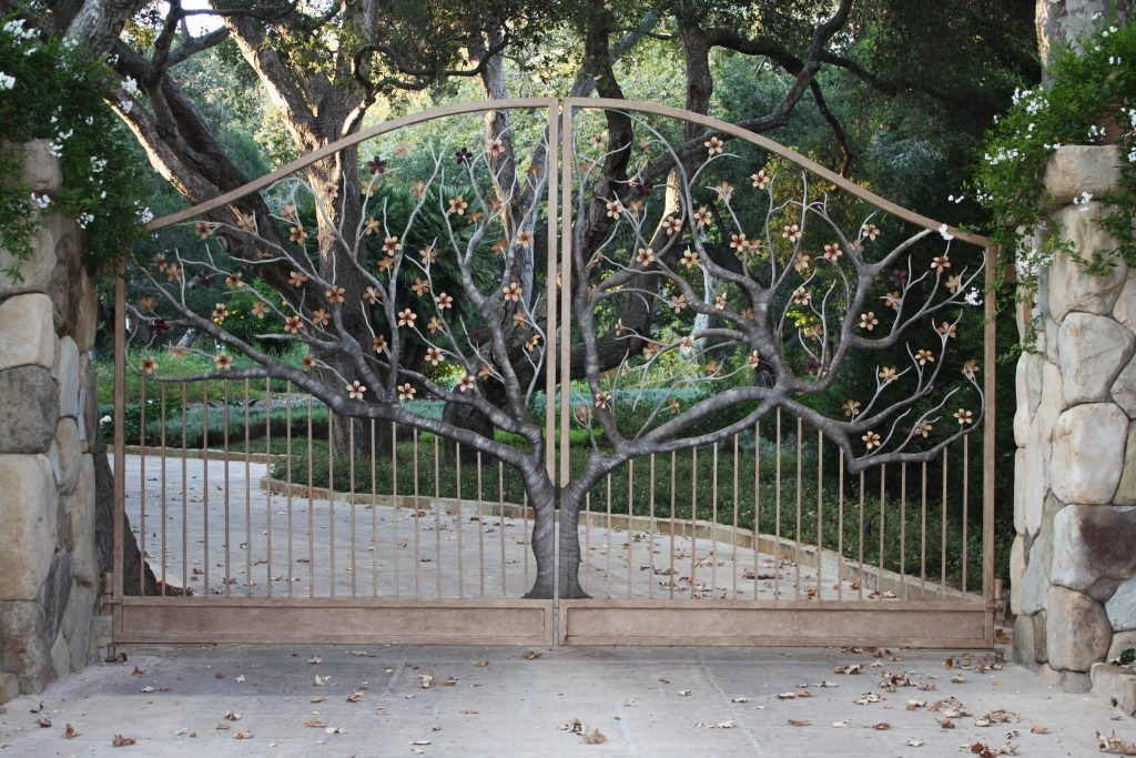 elegantly designed wrought iron gate