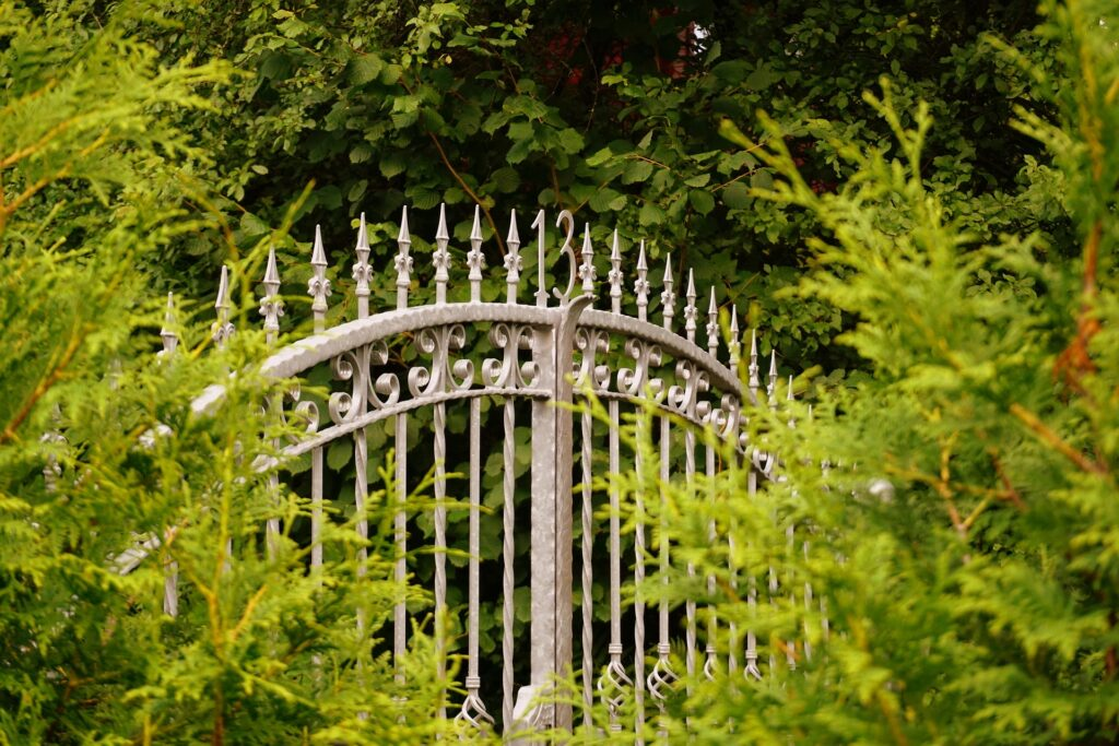 Wrought Iron Gate in shrubs
